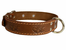 "Real Leather Dog Collar Rich Pattern Texture 15""- 20"" neck,1.25"" wide Medium"
