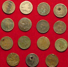 Lot Of 14 Indian Head Pennies & 1 Flying Eagle - In Poor Condition - L@@K Bargan