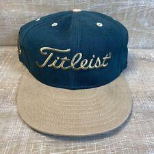 VTG Titleist Golf New Era Hat Fitted 7 1/8 Baseball Cap Green Tan USA NOS