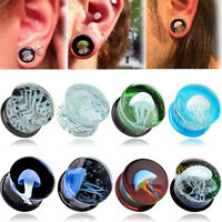 Sea Jellyfish Ear Glass Expander Tunnel Plugs Gauges Body Piercing Earring BNYB
