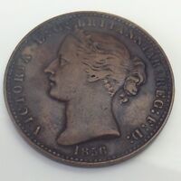 1856 Province Of Nova Scotia Canada Copper 1 Penny Colonial Token With LCW F310