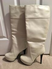 White Cream black heel heels pumps size 9.5 over the knee tall heeled boots