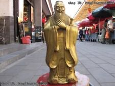16 Chinese Classical Brass Copper famous Confucianism Kong Zi Confucius Statue
