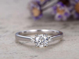 0.54 Ct Diamond Engagement Rings Hallmarked 14K Solid White Gold Round Size M