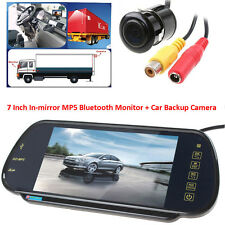 "7"" MP5 Bluetooth Car Rearview Mirror Monitor+ HD 420TVL Car Backup Camera Kits"
