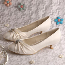 Satin Low Heel (0.5-1.5 in.) Court Bridal Shoes