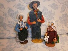 Set 3 Vintage French Doll Terracotta Figure signed Andre Guigoa S Peirano Chave