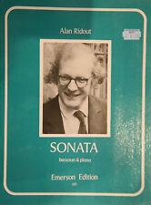 Alan Ridout Sonata for Bassoon and Piano Sheet Music Book Advanced Emerson B68