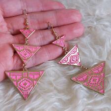 Womens PInk Triangle Charm Cross Patterned Chandelier Dangle Hook Drop Earrings