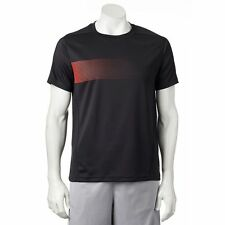 New Mens Fila Sport Slides Performance Running Shirt Size L Black/Fiery Red