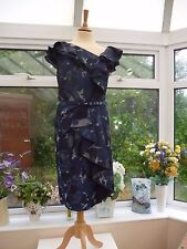 "STUNNING NEW ""PER UNA SPEZIALE"" BLUE & SILVER FRILLED FITTED DRESS MOB PARTY 20"