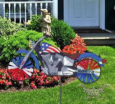 Premier Patriotic Motorcycle Wind Spinner whirligig garden spinner 256664