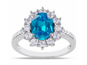 2.20Ct Natural African Blue Topaz With IGI Certified Diamond Ring In 14KT Gold