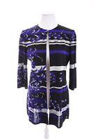 Ming Wang Knit Long Cardigan Jacket Floral Art-to-Wear Purple Black Women Sz S