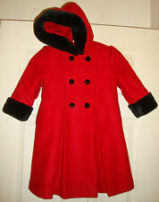 STEPHANIE/MATHEWS~girl's~GORGEOUS/WINTER/WOOL/RED/HOOD/WOOL/COAT! (2T) N/W/TAGS!