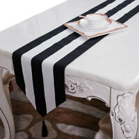Black White Stripe Table Runner with Tassels Cushion Cover Cloth Christmas ideas