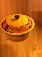 EMERALD COLLECTION CASSEROLE WITH LID--YELLOW STRIPED--SERVER--FREE SHIP--VGC