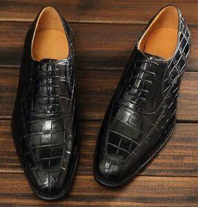 Handmade Men black Crocodile leather formal shoes, Men alligator skin shoes