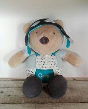 peluche doudou ours bonnet d'aviateur SAUTHON OSCAR gris blanc bleu pois H 28 cm