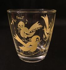 "Rare Vintage Sour Cream Glass Yellow Bird ""Tweet Tweet"""
