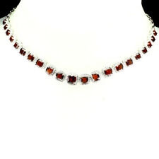 Sterling Silver 925 Genuine Natural Garnet & Lab Diamond Necklace 18 - 21 Inches