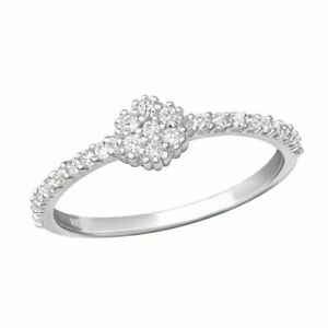 925 Sterling Silver Round Clear Crystal Ring