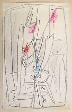 Chastel Roger fusain pastel sur papier signé art abstrait abstraction cubisme