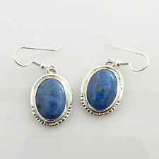 Handmade Sterling Silver Denim Lapis Oval Dangle Earrings
