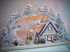 LED ARCOS 3d con niños Invierno Figuras y Pirámide 72x44 Erzgebirge 10675