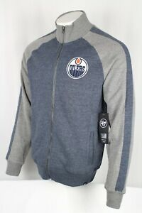 '47 Brand Men's NHL Edmonton Oilers Full Zip Track Jacket Medium Navy Blue