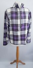 ASOS Purple Plaid Check Long Sleeved Quarter Zip Polyester Blouse Top Size 18