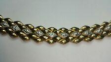 "Real Gold over Sterling Silver 34g Natural Diamond Large Link Tennis Bracelet 7"""