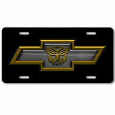 Chevy Chevrolet Transformers Autobot Aluminum Car Truck License Plate Tag Yellow