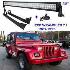 Fits 87-95 Jeep Wrangler YJ 52Inch 700W CREE LED Work Light Bar + Mount Brackets