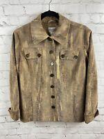 Chico's Snakeskin Tan Brown Black Button Up Jacket Size 1 (med) W/ Collar Pocket