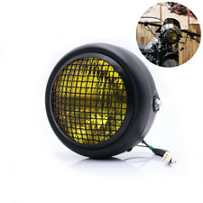 Universal Yellow Motorcycle Headlight Halogen w/ Cover for Cafe Racer Bobber 1x