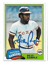 BILLY SAMPLE 1981 TOPPS AUTOGRAPHED SIGNED # 283 RANGERS
