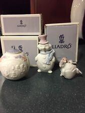 3 Lladro Porcelain Holiday Tree Bulbs snowman,love birds, bulb pink white blue