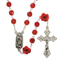 Red Rosary with Rose Shaped Beads