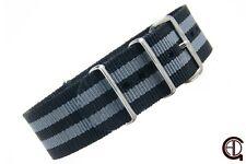 "20mm1.5mm thick MoD/NATO Style ""SKYFALL"" Nylon Watch Strap watch Band Black/Grey"