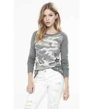 EXPRESS Medium GRAY METALLIC CAMO CREW NECK SWEATER plush jersey white (M 8-10)