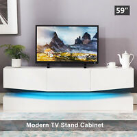 59'' Floating LED TV Stand Wall Mount Console Furniture w/ 3 Large Drawers White