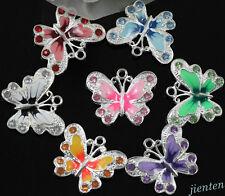 Silver Plated Enamel Crystal Rhinestone Butterfly Charms Pendant DIY 5/20/50Pcs