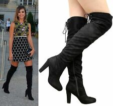 Ladies Womens Over The Knee Boots Thigh High Block Heel Lace Up Party Shoes Size