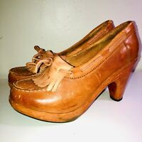 VTG 70'S TOWN&COUNTRY*HIPPIE BOHO FRINGE LEATHER WOOD PLATFORM WEDGE HEEL CLOG*7
