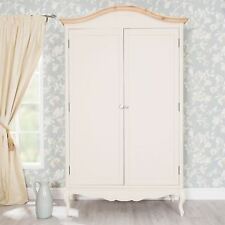 Juliette Champagne Double Wardrobe with crystal handles.Large cream wardrobe
