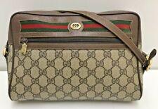 auth vintage Old gucci GG monogram PVC leather brown crossbody shoulder bag