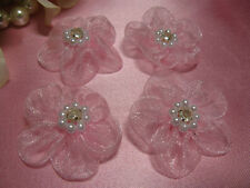 SET OF 4 ORGANZA RHINESTONE FLOWER APPLIQUES FOR DOLLS AND CRAFTS  0588-T2