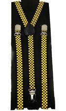 "Unisex Clip-on Braces Elastic Slim ""Yellow Checker"" Y-back Suspender"