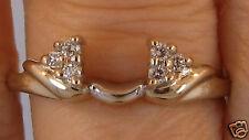 14K White Gold Genuine Diamond Ring Wrap  Enhancer Guard